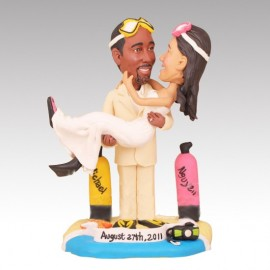 Groom Holding Bride Beach Themed Wedding Cake Toppers