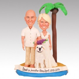 Groom Bride And Dog Beach Themed Wedding Cake Toppers