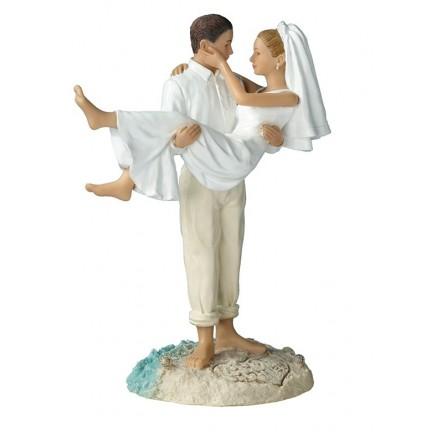 Groom Hold Bride Beach Wedding Cake Toppers