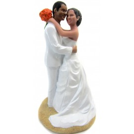 Bride And Groom Huging Beach Wedding Cake Toppers