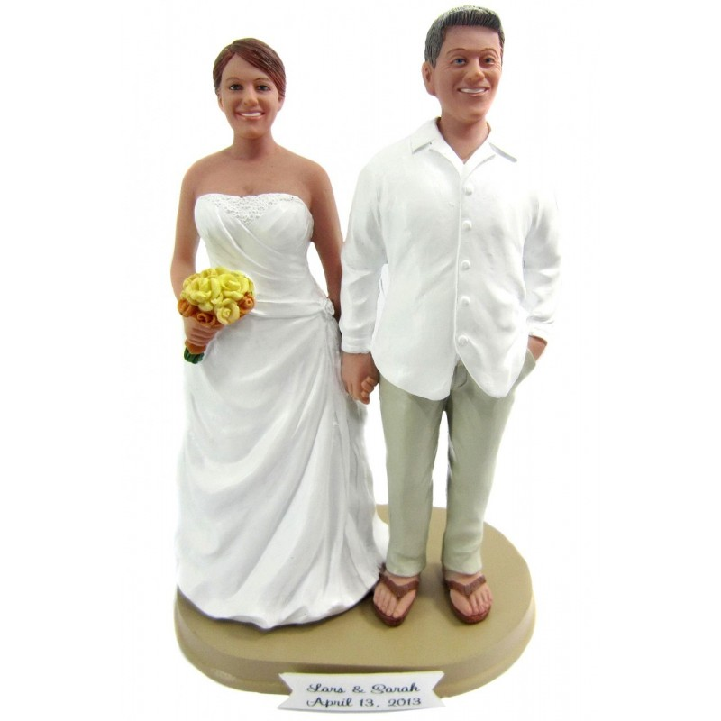 Bride And Groom Hawaiian Beach Themed Wedding Cake Toppers